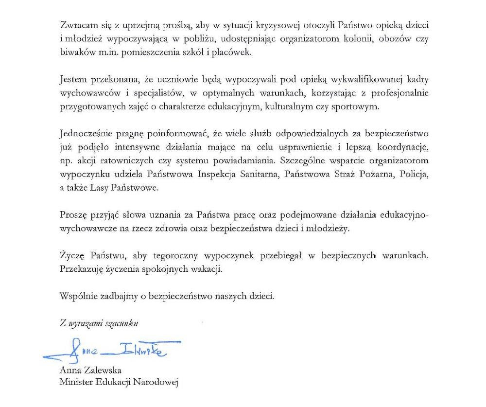 List Minister Edukacji Narodowej w sprawie bezpiecznego wypoczynku