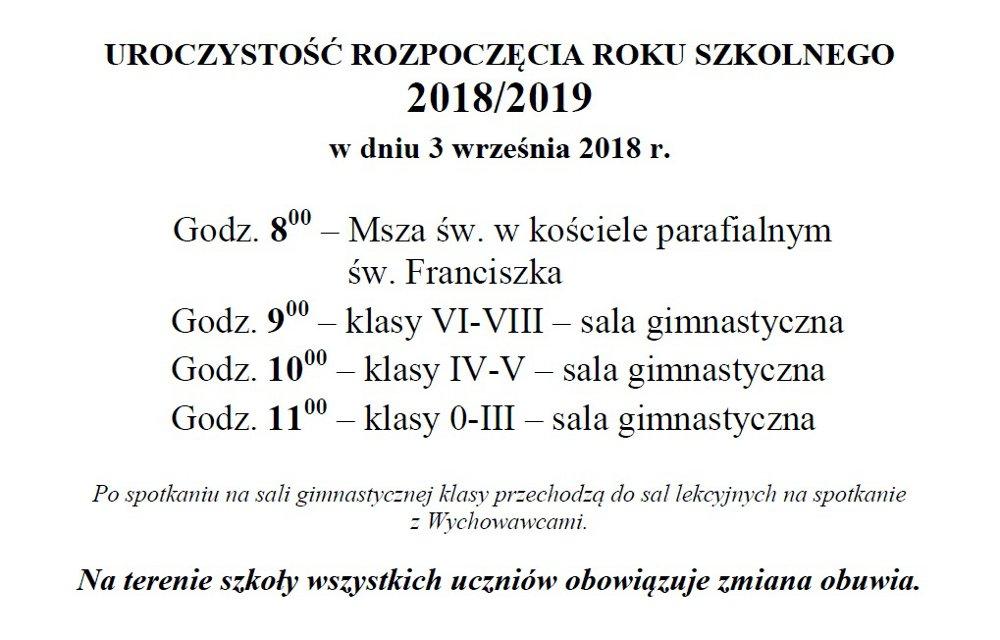 Rozpoczęcie roku szkolnego 2018/2019