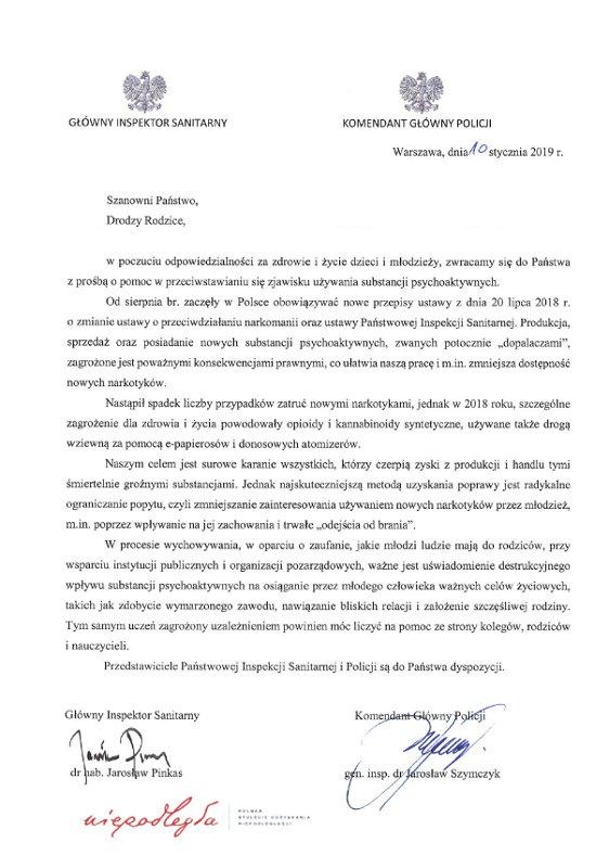 List Głównego Inspektora Sanitarnego i Komendanta Głównego Policji