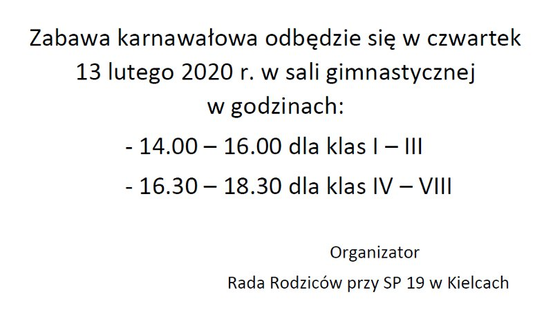 Zabawa karnawałowa 13 lutego 2020 r.
